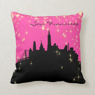 Black and Pink San Francisco Landmark Pillow