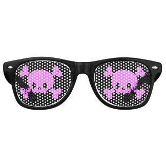 Black and Pink Skull and Crossbones Pirate Glasses