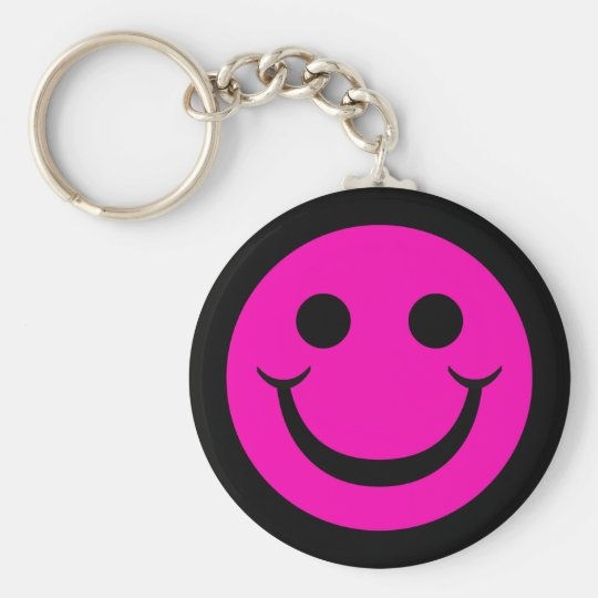 BLACK AND PINK SMILEY KEYCHAIN