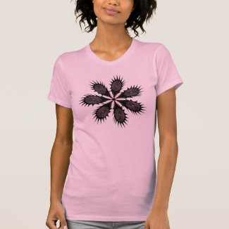 Black and Pink Spikey Fingerprint Flower T-shirts
