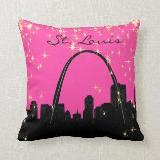Black and Pink St. Louis Landmark Pillow