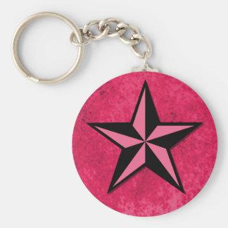 Black and Pink Star Basic Round Button Keychain