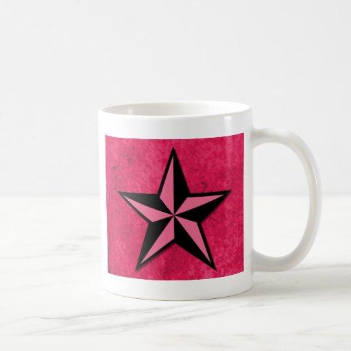 Black and Pink Star Coffee Mug