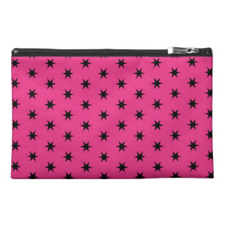 Black and Pink Star Pattern Travel Accessory Bag