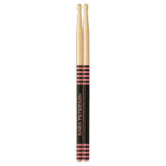 Black and Pink Stripes Custom Name For Her V11 Drum Sticks