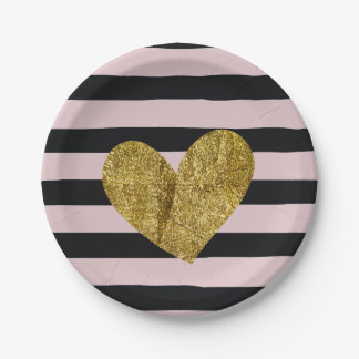 Black and Pink Stripes Gold Heart Paper Plate