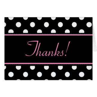 Black And Pink Sweet Sixteen Birthday Thank You Card