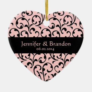 Black and Pink Swirl Damask Wedding Ornament