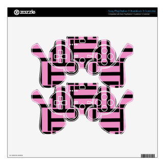 Black and Pink T Weave PS3 Controller Decals