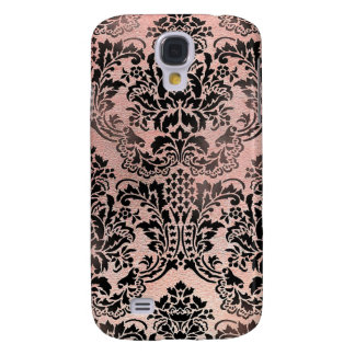 Black and pink textured damask. samsung galaxy s4 case
