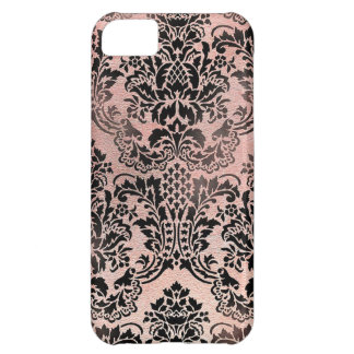 Black and pink textured damask. case for iPhone 5C