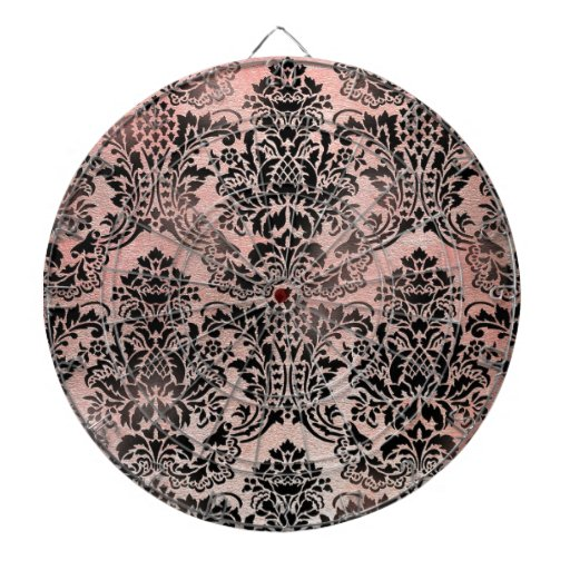 Black and pink textured damask. dartboard