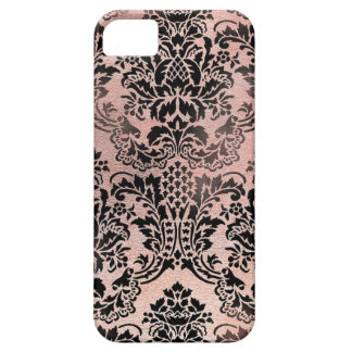 Black and pink textured damask. iPhone SE/5/5s case