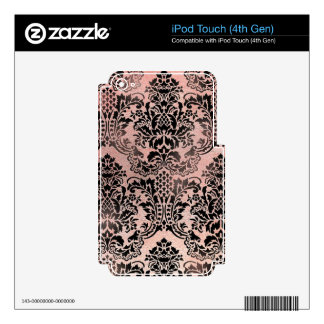 Black and pink textured damask. iPod touch 4G skin