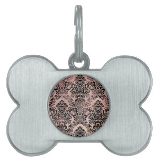 Black and pink textured damask. pet ID tag