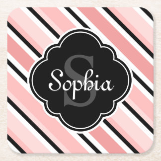 Black and Pink Tilted Stripe Pattern Square Paper Coaster