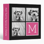 Black and Pink Trendy Photo Collage with Monogram 3 Ring Binder
