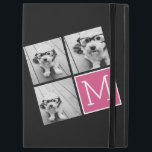 """Black and Pink Trendy Photo Collage with Monogram iPad Pro 12.9&quot; Case<br><div class=""""desc"""">Use 3 square photos to create a unique and personal gift. Or you can keep the hipster puppy and make a trendy keepsake. If you need to adjust the pictures,  click on the customize tool to make changes.</div>"""