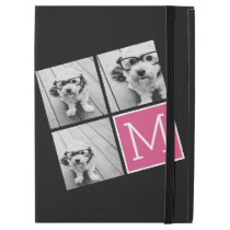 "Black and Pink Trendy Photo Collage with Monogram iPad Pro 12.9"" Case"