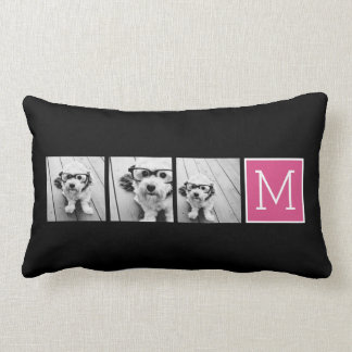 Black and Pink Trendy Photo Collage with Monogram Lumbar Pillow