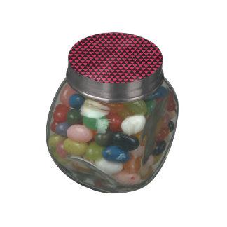 Black and Pink Triangle Hexagon Pattern Glass Jar