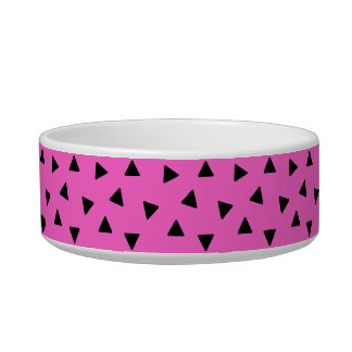 Black and Pink Triangle Pattern Design Pet Bowl Cat Food Bowls