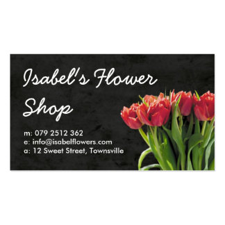 Black and Pink Tulips Florist Business Card
