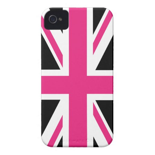 Black and Pink UK Flag iPhone4 Case Case-Mate iPhone 4 Case