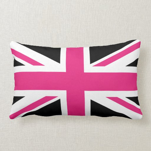 Black And Pink Uk Flag Pillow Zazzle