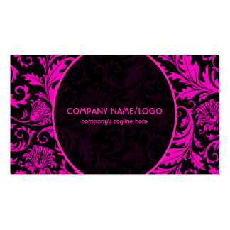 Black And Pink Vintage Floral Damasks Pattern Double-Sided Standard Business Cards (Pack Of 100)