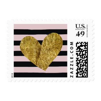Black and Pink Watercolor Stripes Gold Heart Postage