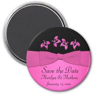 Black and Pink Wedding Favor Magnet magnet