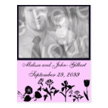 Black And Pink Wildflower Photo Invitation Post Cards