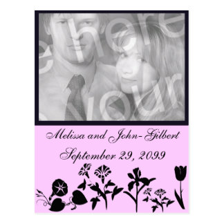 Black And Pink Wildflower Photo Invitation Postcard