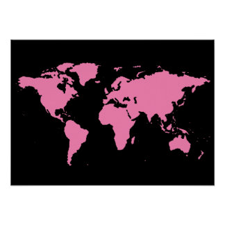 black and pink world map for women poster