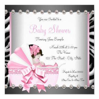 Black and Pink Zebra Baby Shower Card