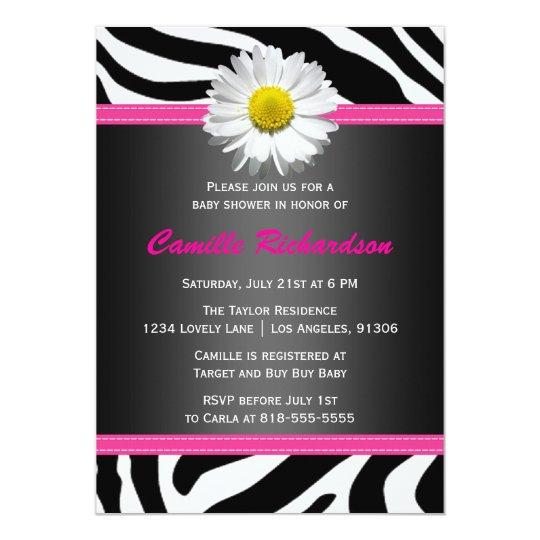 Black and Pink, Zebra, Girl Baby Shower Invitation