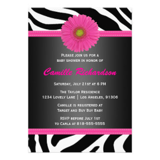 Black and Pink Zebra Girl Baby Shower Invitation
