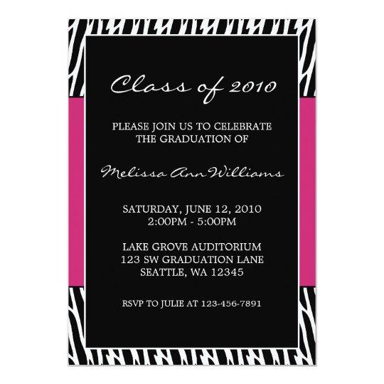 Black and Pink Zebra Graduation Announcement
