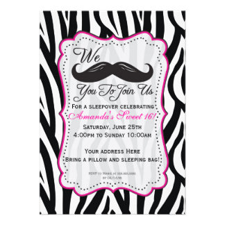 Black and Pink Zebra Mustache Sleepover Party Announcements
