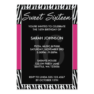 Black and Pink Zebra Pattern Sweet 16 Birthday Personalized Invites