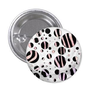 Black and Pink Zebra Polka Dots Pinback Button