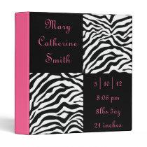 Black and Pink Zebra Print Baby Book 3 Ring Binder