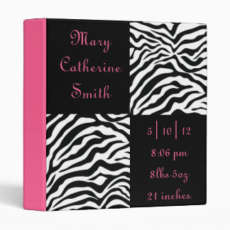Black and Pink Zebra Print Baby Book 3 Ring Binder