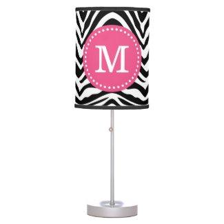 Black and Pink Zebra Print Custom Monogram Desk Lamp