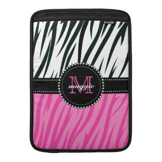 Black and Pink Zebra Print Custom Monogram girly MacBook Air Sleeve