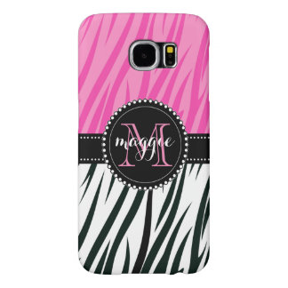 Black and Pink Zebra Print Custom Monogram girly Samsung Galaxy S6 Case