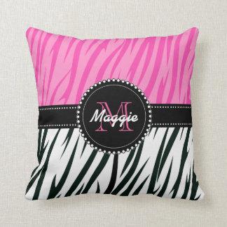 Black and Pink Zebra Print Custom Monogram girly Throw Pillow