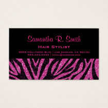 Black and Pink Zebra Professional Business Card
