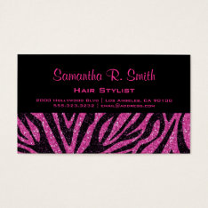 Black And Pink Zebra Professional Business Card at Zazzle